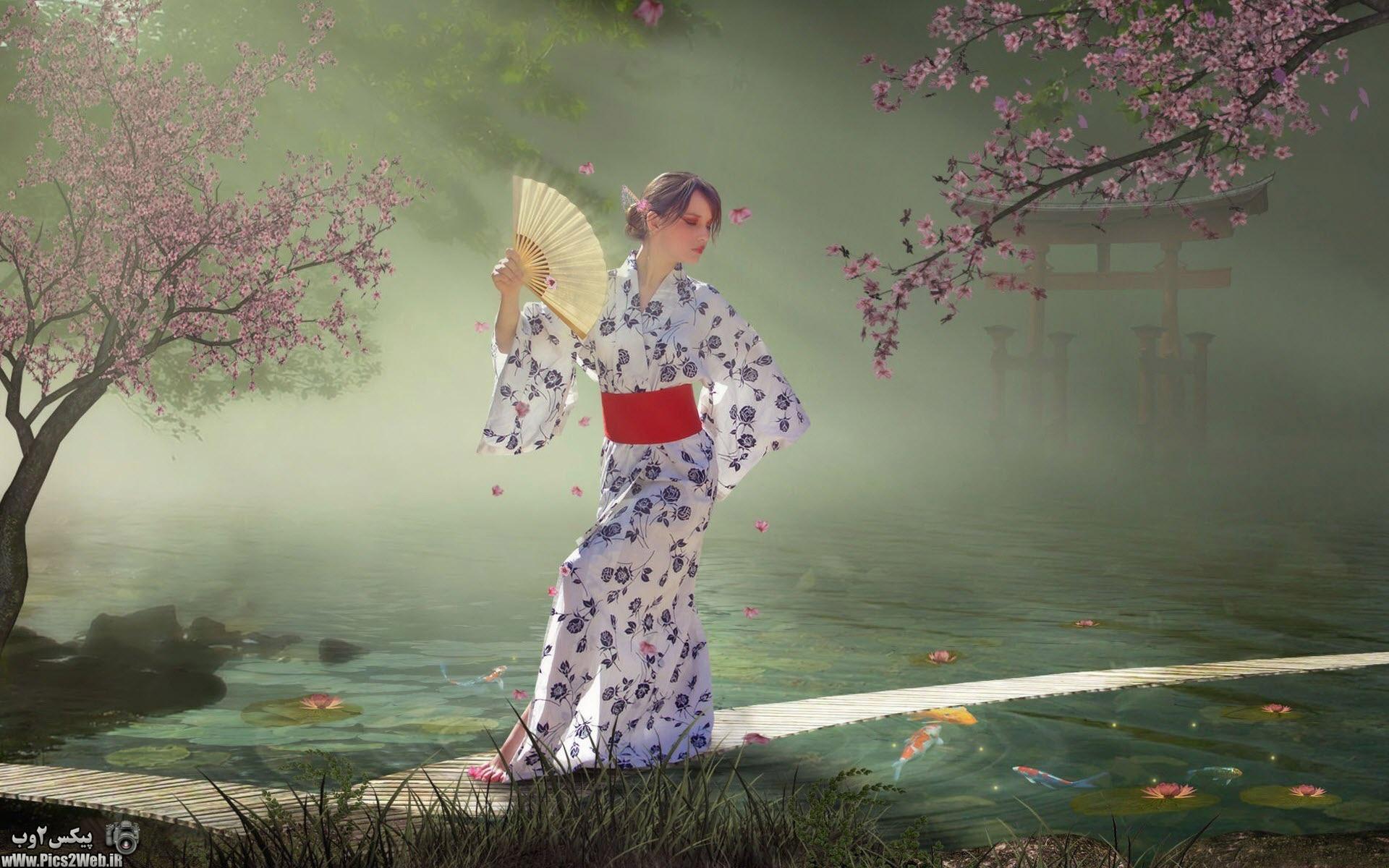 عکس دختر ژاپنی با لباس سفید